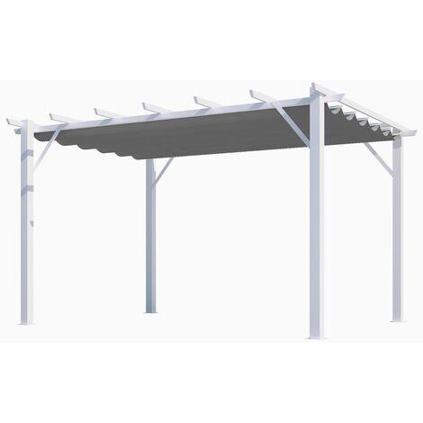 Pergola aluminium coloris blanc poteaux grosses sections 7 lambourdes avec toile d'ombrage grise 12 m2 140grs