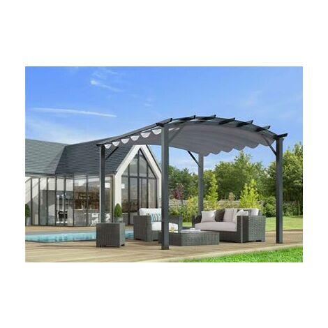 Pergola arche structure mixte aluminium/acier gris anthracite toile grise 11,22 m2 280grs
