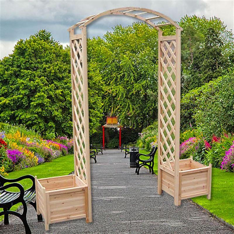 Arco de rosas con jardinera rejilla enrejado arco de jardín columna de rosas soporte para plantas de madera macetero maceta puerta