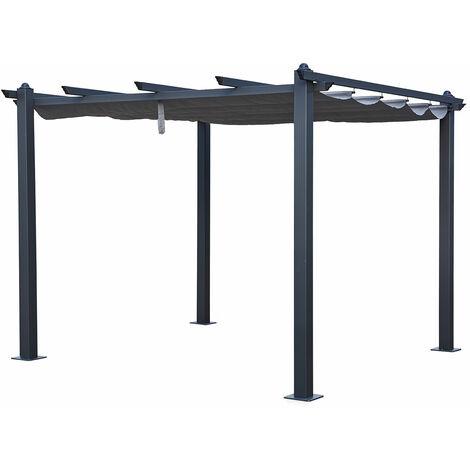 Pergola autoportante 3 × 3m CASSIS grise - structure aluminium - Gris
