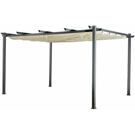 Pergola autoportante 3 × 4m CASSIS beige - structure aluminium - Beige