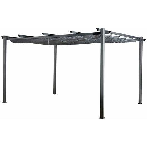 Pergola autoportante 3 × 4m CASSIS grise - structure aluminium - Gris