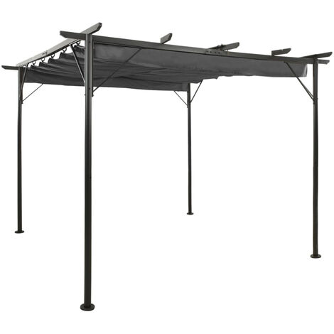 Pergola avec toit retractable Anthracite 3x3 m Acier 180 g/m2