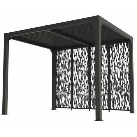 Pergola bioclimatique en aluminium + 4 panneaux - 7,20 m2 - toit en lames mobiles - gris anthracite