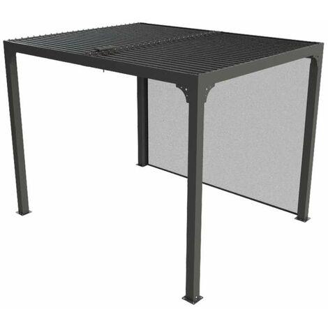 Pergola bioclimatique en aluminium + rideau manuel - 7,20 m2 - toit en lames mobiles - gris anthracite