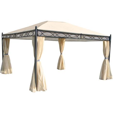 Pergola Cadiz, pavillon de jardin, cadre stable à 7cm avec paroi et moustiquaire