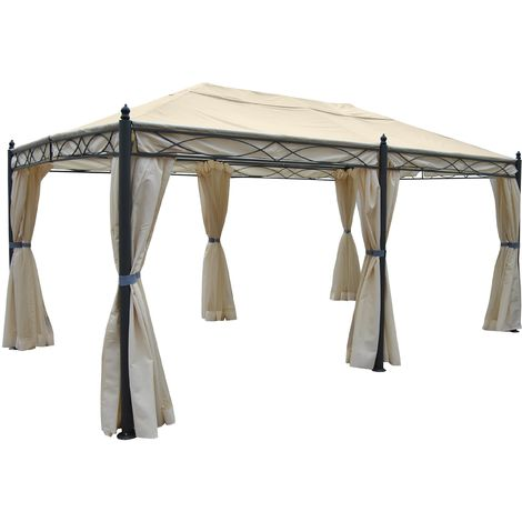 Pergola Calpe, Garten Pavillon, stabiles 7cm-Gestell 5x3m ~ creme mit Seitenwand + Moskitonetz