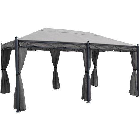 Pergola Calpe, Pavillon, stabiles 7cm-Gestell 5x3m ~ grau mit Seitenwand + Moskitonetz