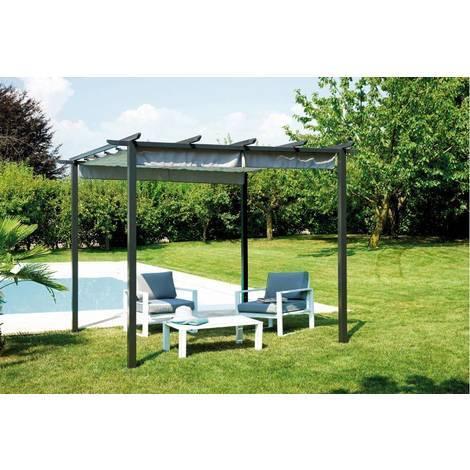 pergola carr 3x3 m avec toit coulissant gris mo gaz 503. Black Bedroom Furniture Sets. Home Design Ideas