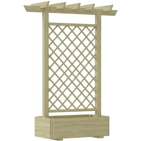 Pérgola con jardinera de madera 162x56x204 cm