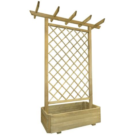 Pérgola con jardinera de madera FSC 162x56x204 cm