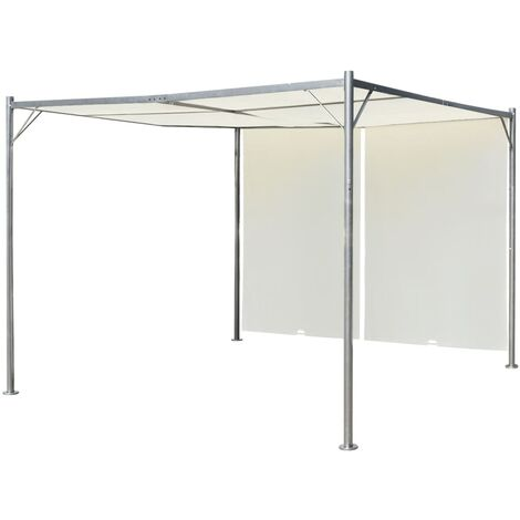 Pérgola con techo retráctil blanco crema acero 3x3 m