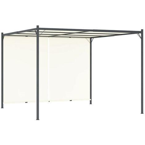 Pergola con tejado ajustable acero color blanco crema 3x3 m