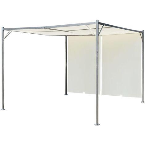 Pergola con tettoia retrattile bianco crema in acciaio 3x3 m