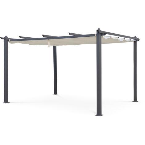 Pergola da giardino alluminio 3x4m, tende scorrevoli, tenda di colore Ecru