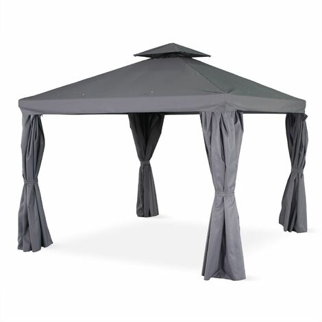 Pérgola de aluminio Divodorum gris 3x3m, con cortinas corredizas, cenador, carpa de jardín