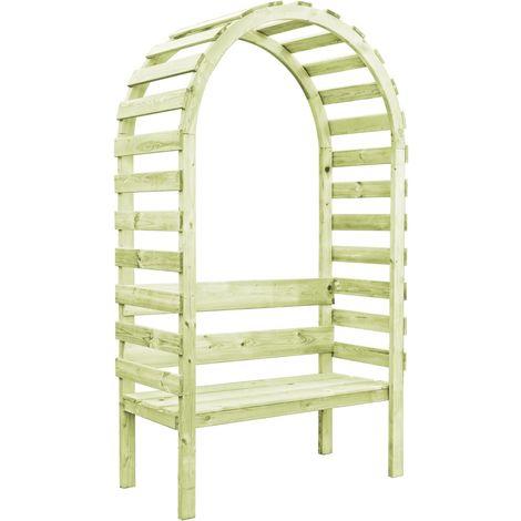Pérgola de jardín con banco madera de pino 130x60x230 cm