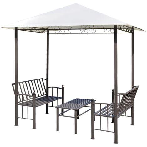 Pérgola de jardín con mesa y bancos 2,5x1,5x2,4 m