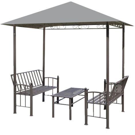 vidaXL Pérgola de jardín con mesa y bancos 2,5x1,5x2,4 m gris - Antracita