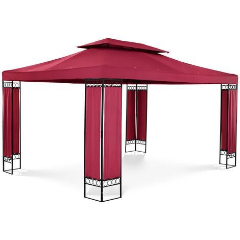 Pergola De Jardin Terrasse En Kit Tonnelle Store Toiture Uniprodo 3x4m Acier Rouge Vin