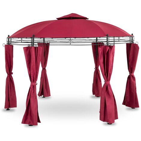 Pergola De Jardin Terrasse En Kit Tonnelle Uniprodo Ronde ⌀3,5m Toile 180g/m2 Rouge Vin