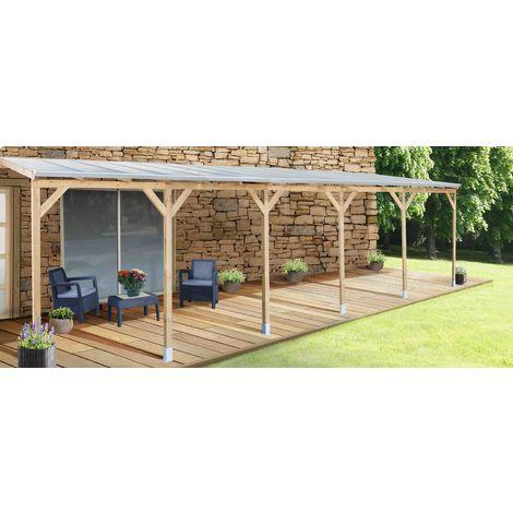 Pergola de madera 3X9,2-Con techo Policarbonato