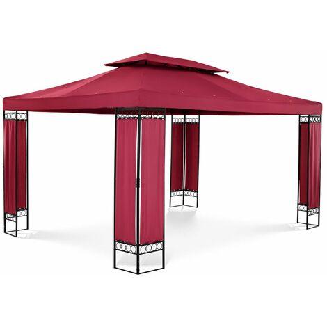 Uniprodo Pérgola De Metal Cenador Para Jardín 3 x 4 m - 160 g/m² - tinto
