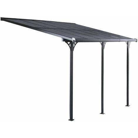 """main image of """"Pérgola de Pared Gardiun Elliot - 18,8 m² 619x305x227/272 cm Aluminio y Policarbonato - KIS13018"""""""