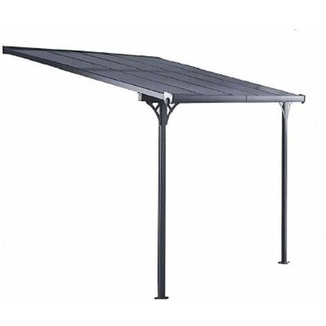 Pérgola de Pared Gardiun Elliot - 8 m² 313x254x220/260 cm Aluminio y Policarbonato - KIS13008