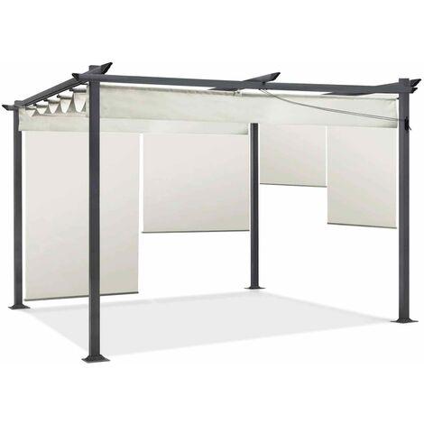 Pergola édition spéciale écrue 3x4 M toit rétractable et 4 stores enrouleurs
