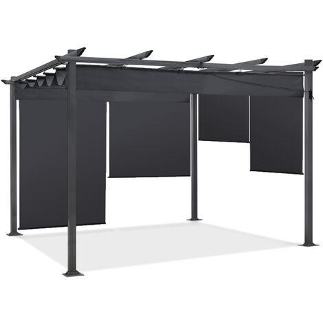 Pergola édition spéciale gris 3x4 m toit rétractable et 4 stores enrouleurs
