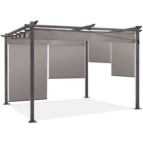 Pergola édition spéciale taupe 3x4 M toit rétractable et 4 stores enrouleurs