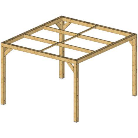 Pergola en bois massif traité - dimensions 341 x 313 cm