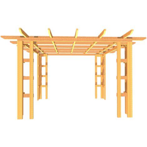 Pergola en bois massif traité - dimensions 400 x 400 cm