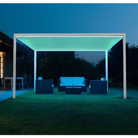 Pergola / gazebo GLICINE 4X3mt con illuminazione LED e copertura motorizzata e telecomandate