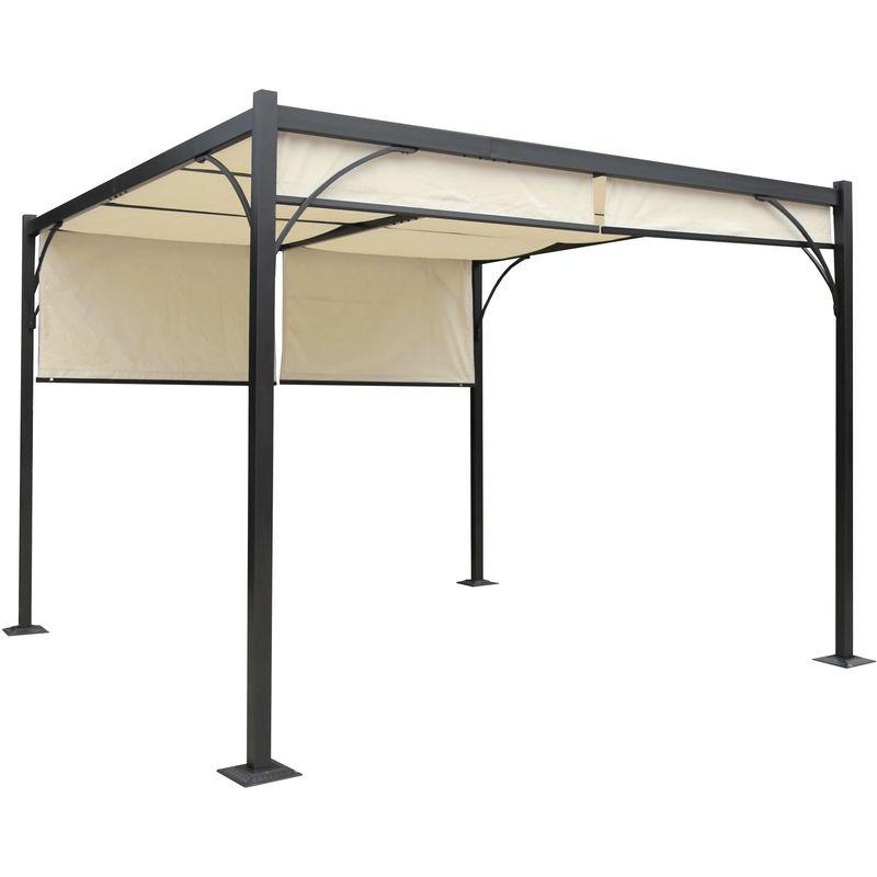HHG - Pergola Granada, pavillon de jardin, cadre stable à 6 cm en alu + toit ouvrant ~ 3x3m