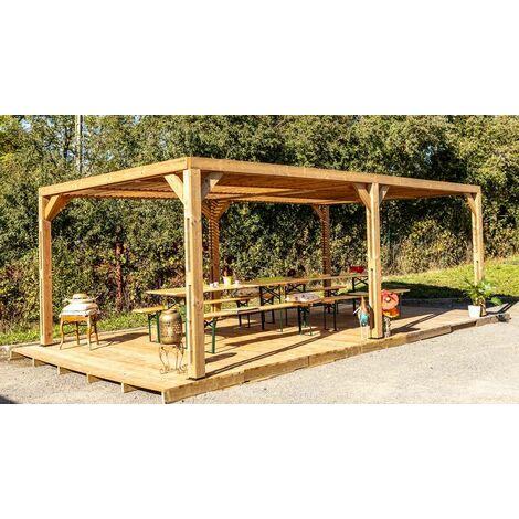 Pergola grandes dimensions en bois massif traité - toit en ventelles mobiles - 341 x 614 cm