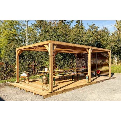 Pergola grandes dimensions en bois massif traité - toit et mur en ventelles mobiles - 341 x 614 cm