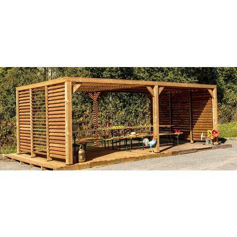 Pergola grandes dimensions en bois massif traité - toit et murs en ventelles mobiles - 341 x 614 cm
