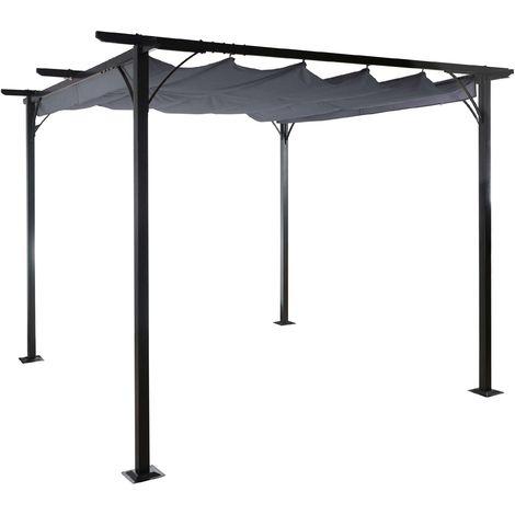 Pergola HHG-116, pavillon de jardin, cadre stable à 6 cm + toit ouvrant