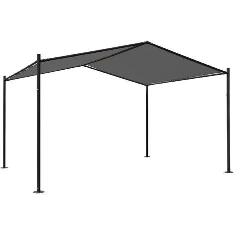 Pergola HHG-367, Garten Pavillon Terrassenüberdachung, stabiles 6cm Stahl-Gestell 4x3m