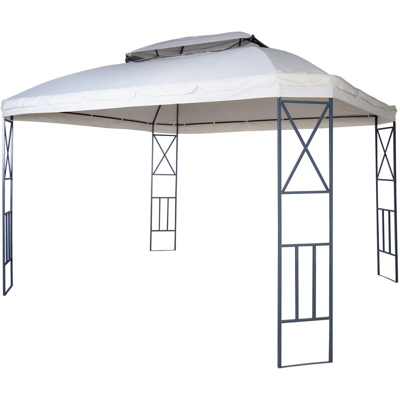 Pergola 610, pavillon de jardin avec moustiquaire, 3,6x3m ~ crème - HHG
