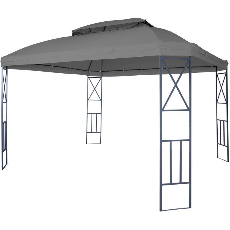 Pergola HHG-610, pavillon de jardin avec moustiquaire, 3,6x3m ~ gris