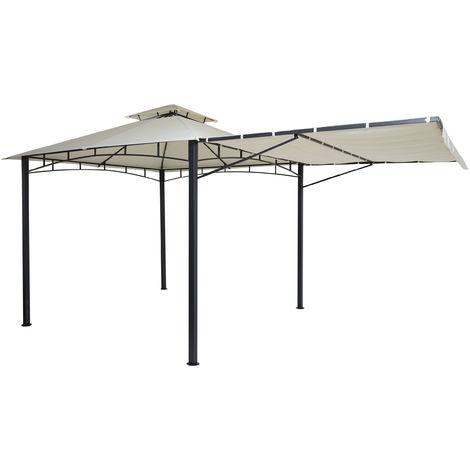 Pergola HHG-677, Garten Pavillon, Stahl bewegliche Seitenwand 2,5x2,5m