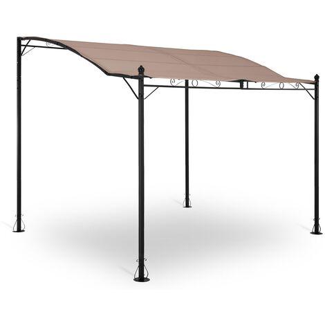 Pergola Inclinée De Jardin Store Terrasse En Kit Tonnelle Uniprodo Toile 180g/m2 Taupe