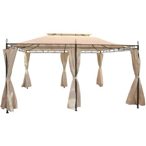 Pergola Mecina, pavillon de jardin, cadre en acier à 4cm avec paroi, 4x3m