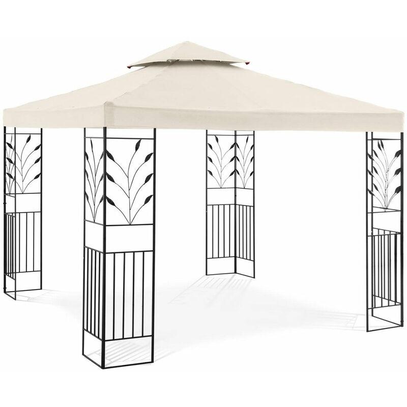 Helloshop26 - Pergola pavillon barnum tonnelle tente abri gazebo de jardin terrasse 3 x 3 m 180 g/m² beige - Beige