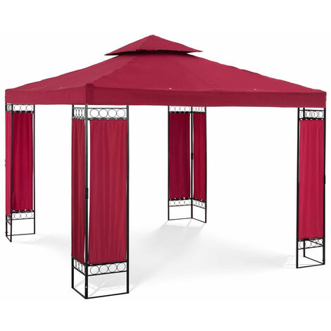 Pergola pavillon barnum tonnelle tente abri gazebo de jardin terrasse rouge bordeaux 3 x 3 m 160 g/m² - Bordeaux