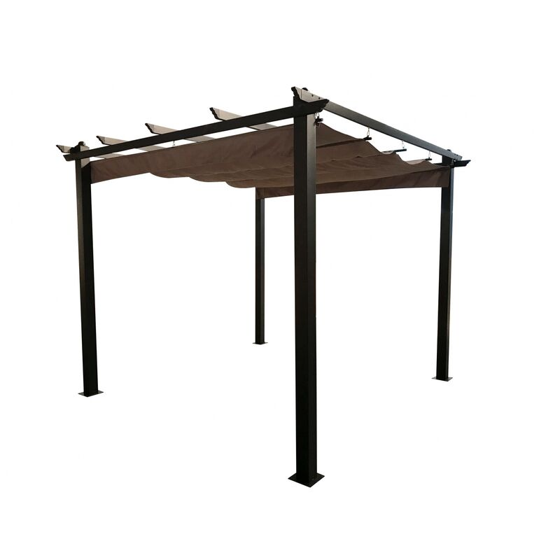 Regia : tonnelle autoportante 3x3m, structure aluminium et toile polyester taupe