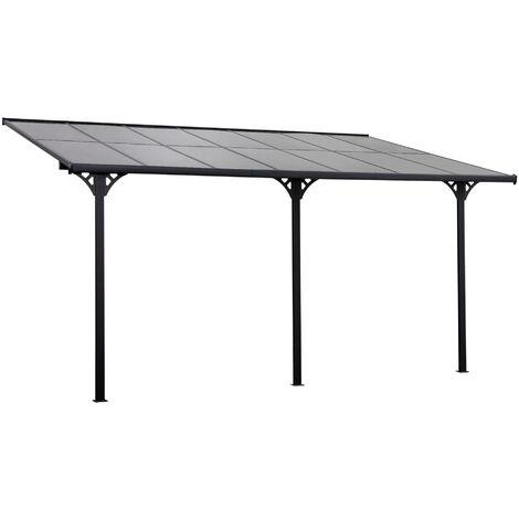 Pergola rigide alu. polycarbonate dim. 4,35L x 3l x 2,7H m pavillon de jardin adossable gris